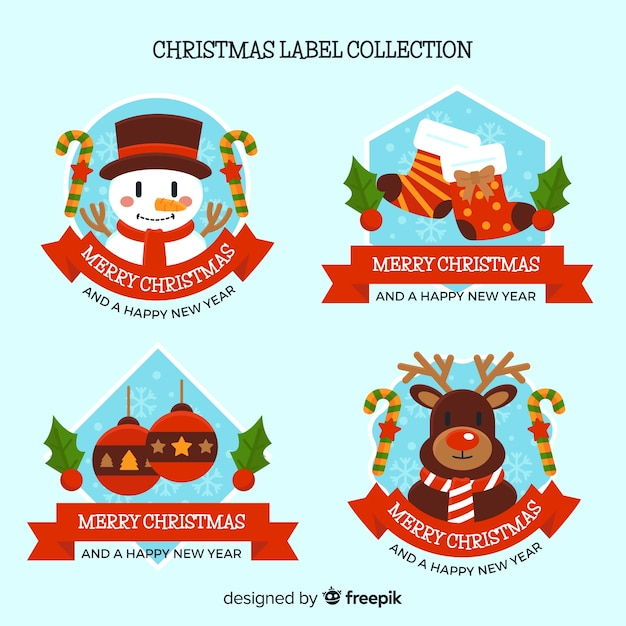 Colorful Set Of Christmas Labels With Flat Design Vector Free Download
