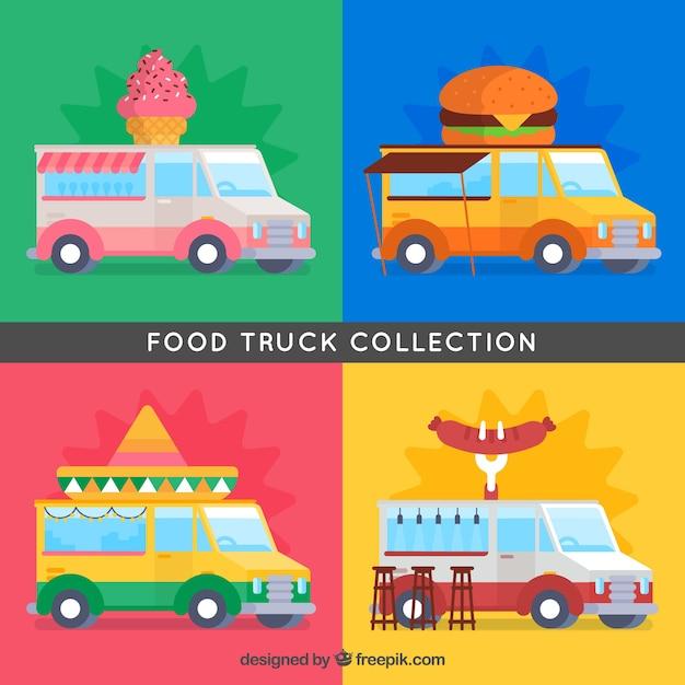 Colorful set of classic flat food trucks