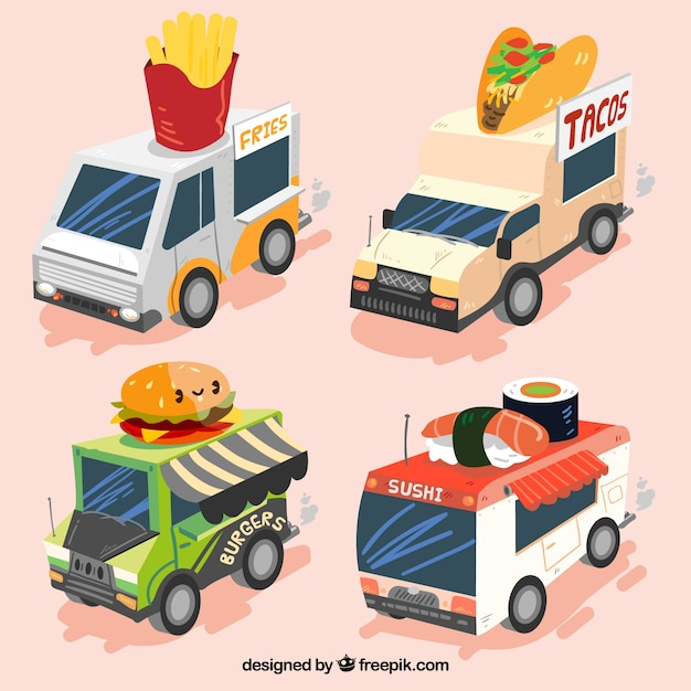 Colorful set of cool food trucks