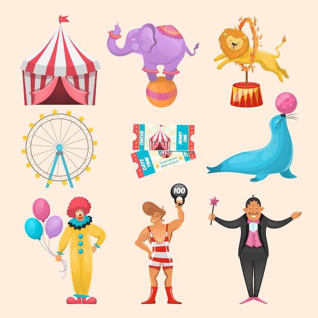 さまざまなサーカスキャラクターのカラフルなセット動物アミューズメント乗り物イベントチケットと剥奪マルゲーシンボル 無料ベクター