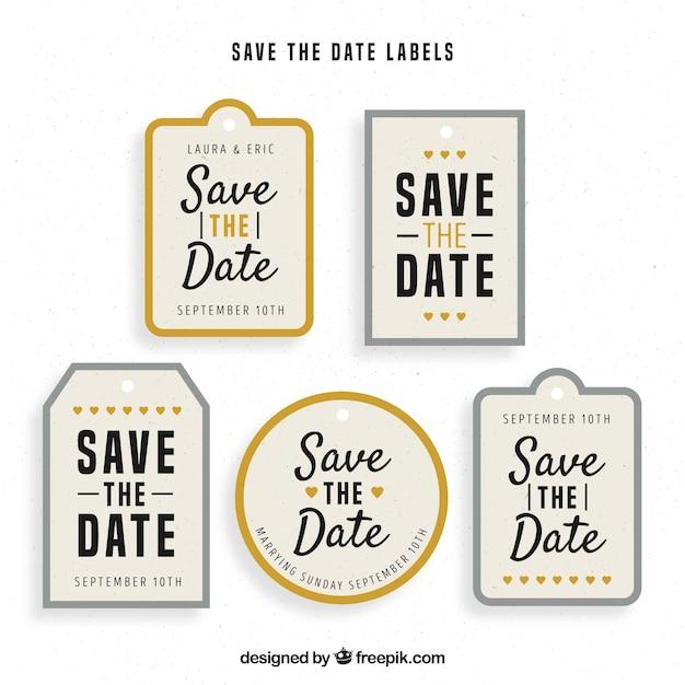 Colorful set of elegant wedding labels