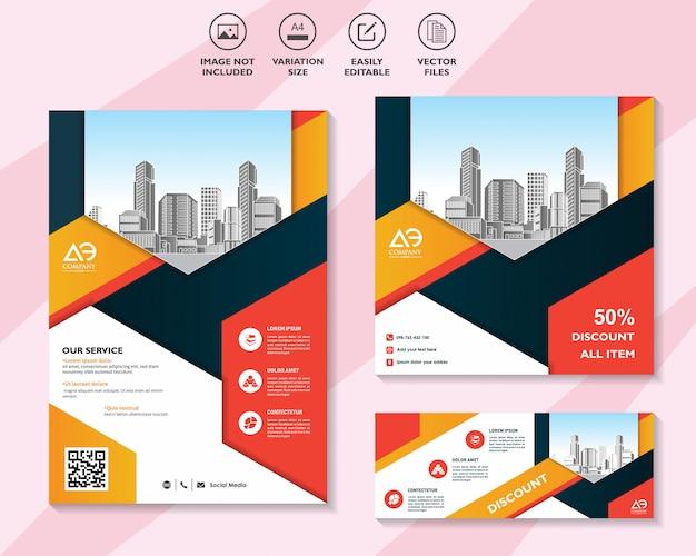 Красочный набор флаеров или брошюр со скидкой предлагает маркетинг в социальных сетях Premium векторы