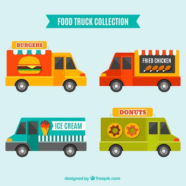 Colorful set of food trucks