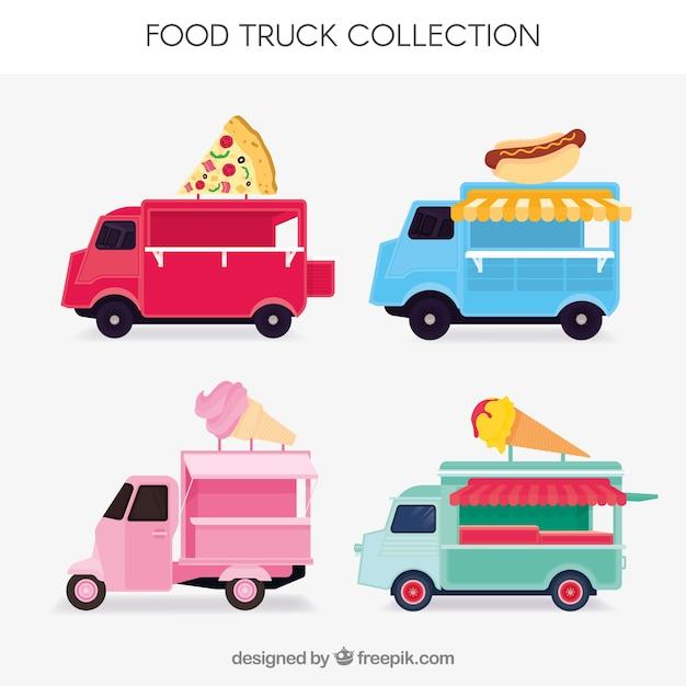Colorful set of fun food trucks