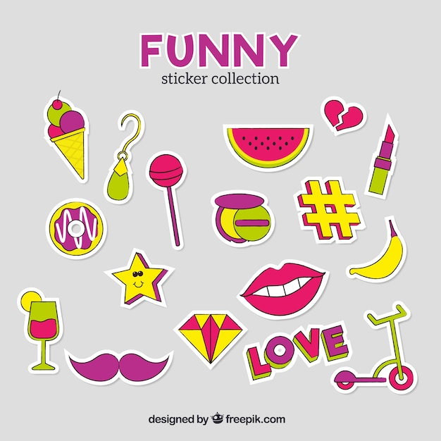 Colorful set of funny stickers