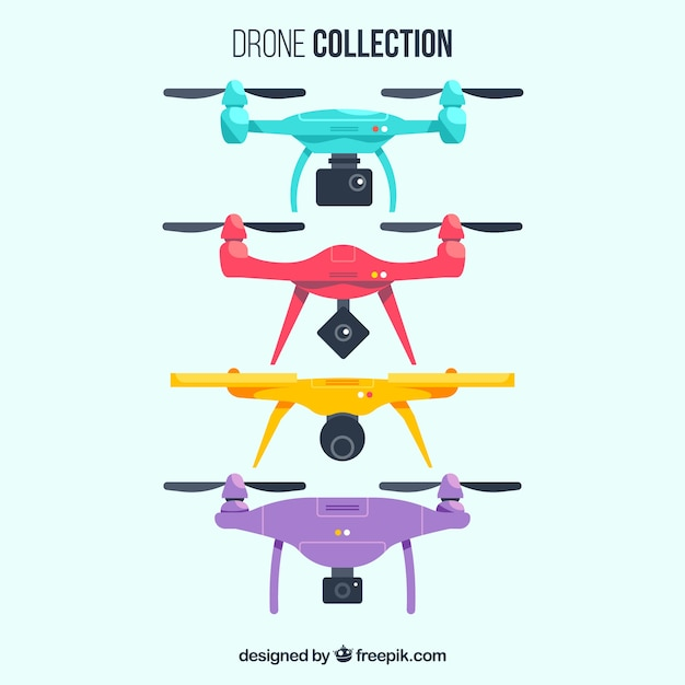 Colorful set of modern drones