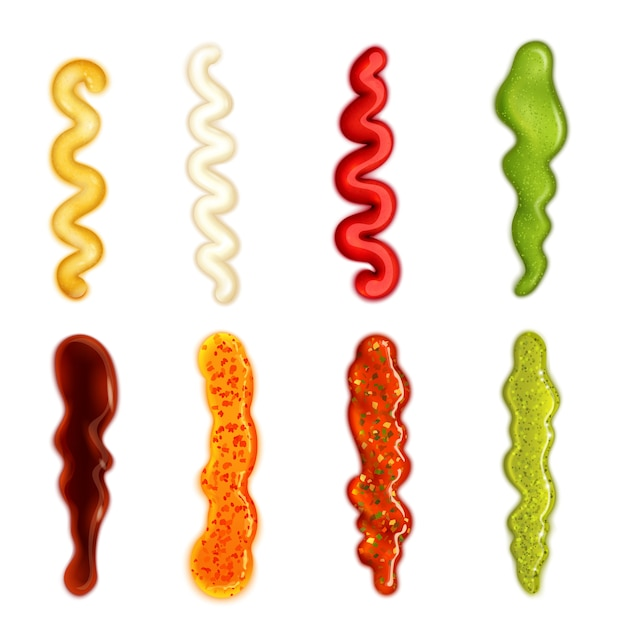 Colorful set of sauce blobs in different forms Free Vector