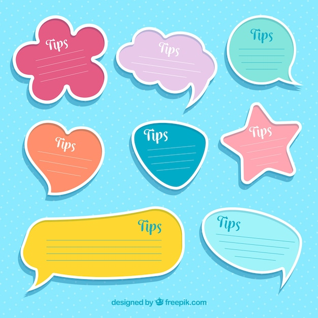 Colorful set of tip labels with flat design Free Vector