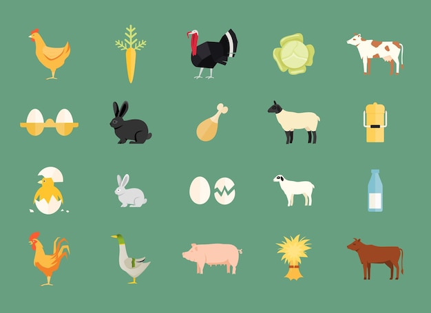 Colorful set of vector farm animals and produce with hen and egg Free Vector