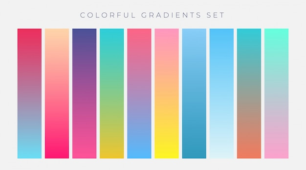 Colorful set of vibrant gradients vector illustration Free Vector
