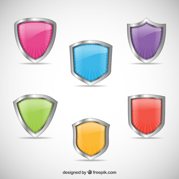 Colorful shields collection