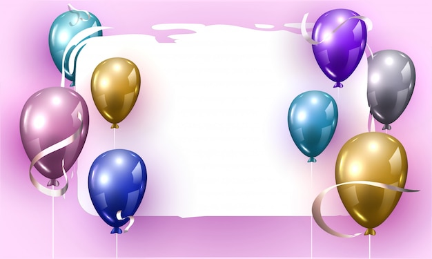 Colorful shiny balloons decorated on purple background with space for message. Premium Vector