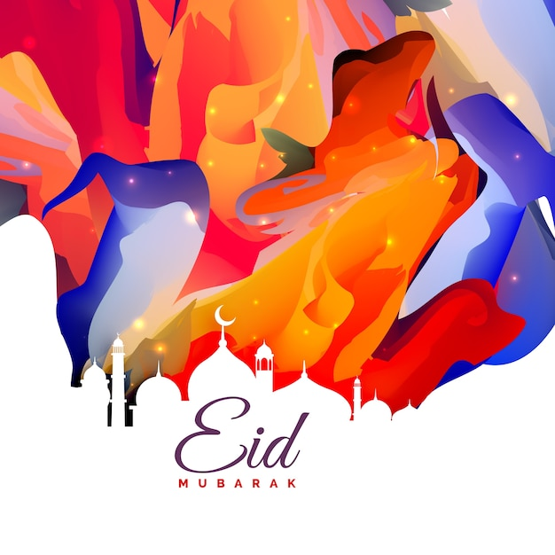 Colorful shiny eid mubarak card