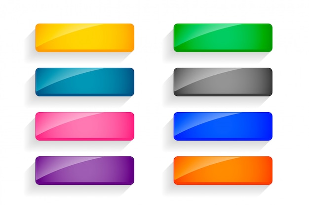 Colorful shiny empty buttons set of eight Free Vector
