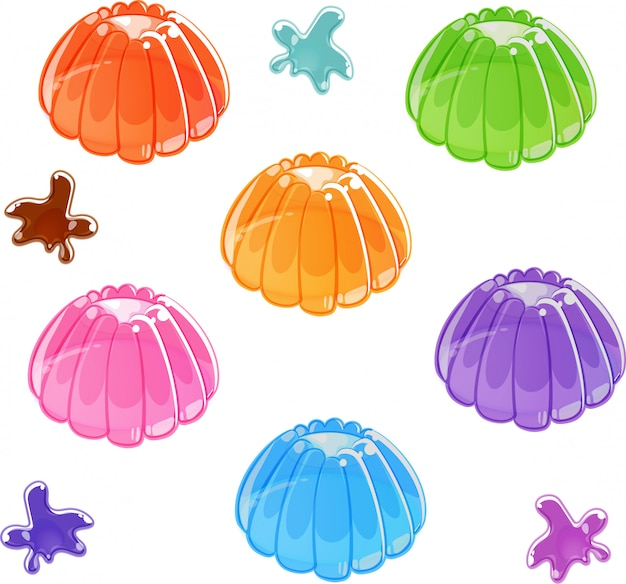 Colorful shiny jelly set. isolated Premium Vector