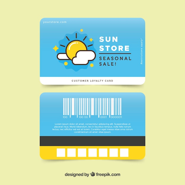 colorful shop loyalty card template vector free download