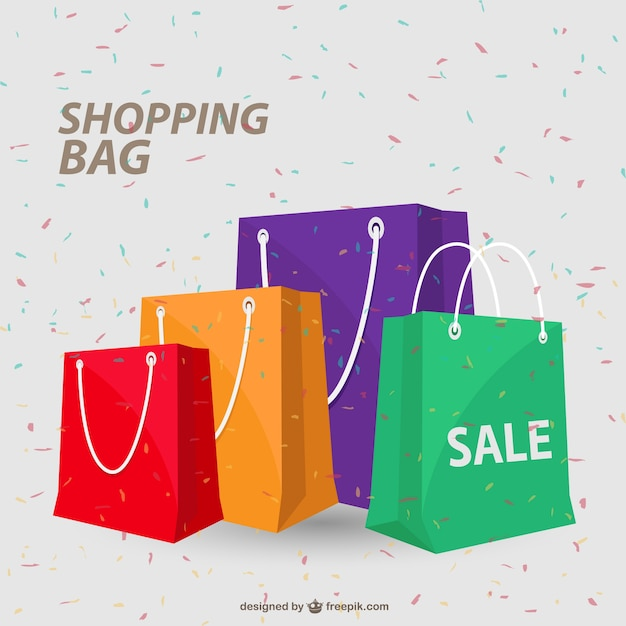 Colorful shopping bags and conffetti Free Vector