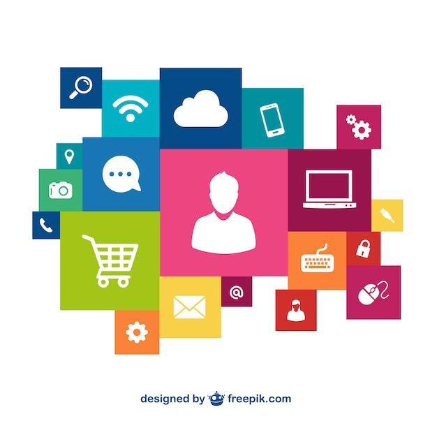 Colorful shopping icons Free Vector