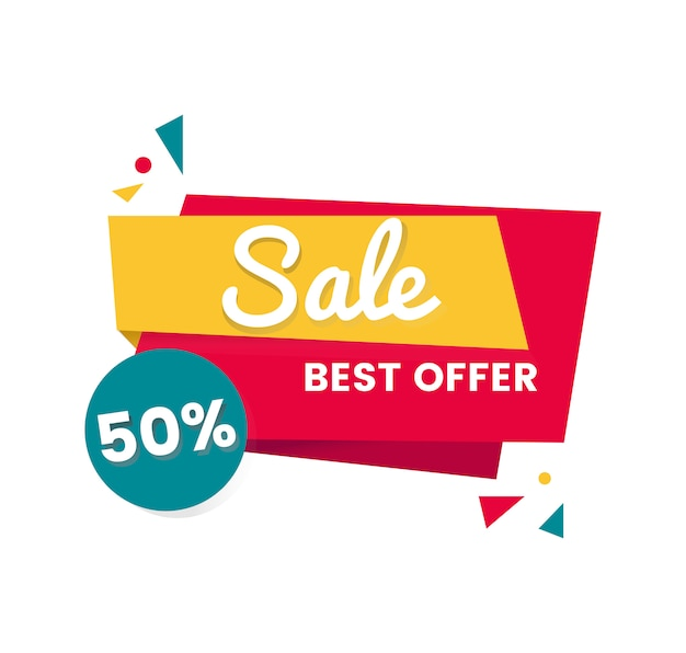 Colorful shopping sale badge design Free Vector