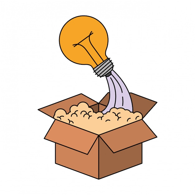 Colorful silhouette of cardboard box and light bulb Premium Vector