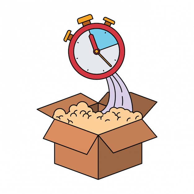 Colorful silhouette of cardboard box and stopwatch Premium Vector