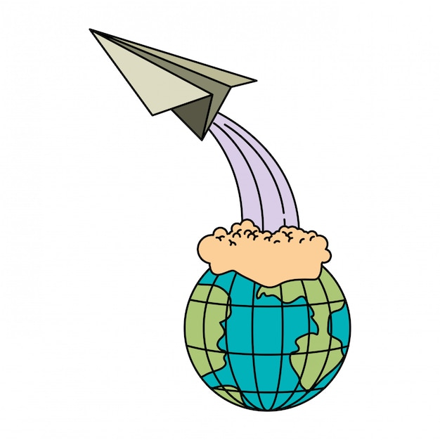 Colorful silhouette of earth globe and paper plane flying Premium Vector