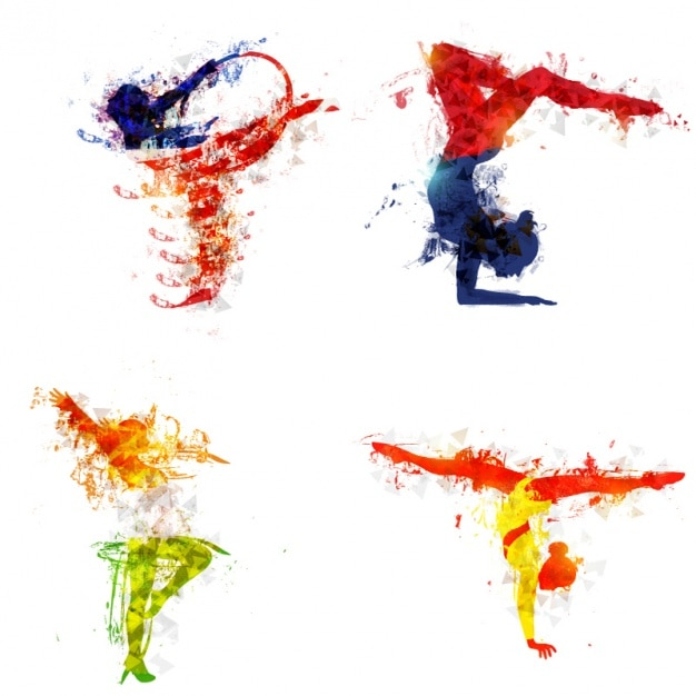Colorful silhouettes of gymnasts Premium Vector