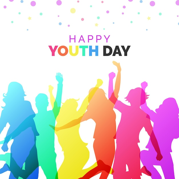 Colorful silhouettes youth day Free Vector