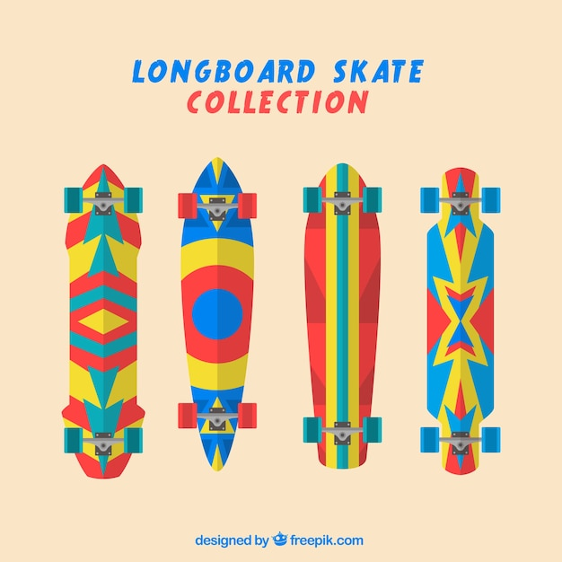 Colorful skateboards set