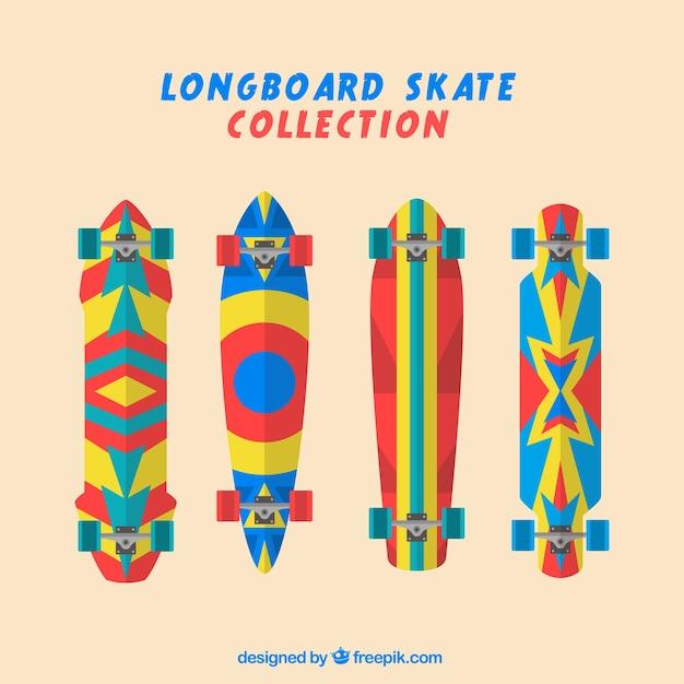 Colorful skateboards set