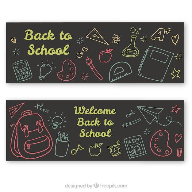 Colorful sketch banners of the back to school