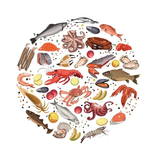 Schizzo colorato prodotti ittici round concept Vettore gratuito
