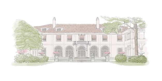 カラフルなスケッチ、結婚式の会場、建築。スタイルマンションのイラスト Premiumベクター