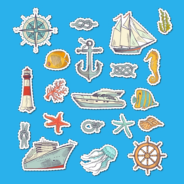 Colorful sketched sea elements stickers. Premium Vector
