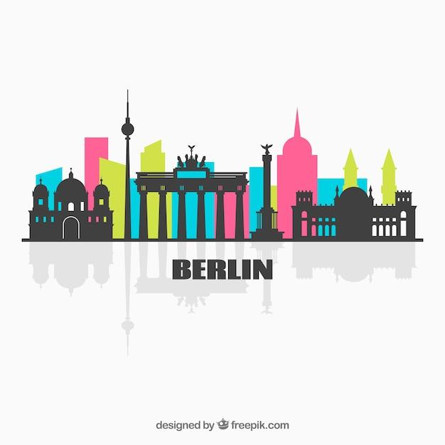 Colorful skyline of berlin Free Vector