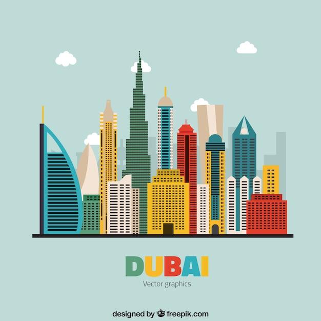 Colorful skyline of dubai Free Vector