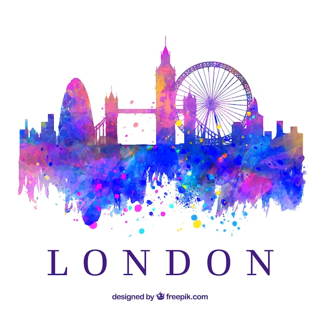 Colorful skyline of london Free Vector