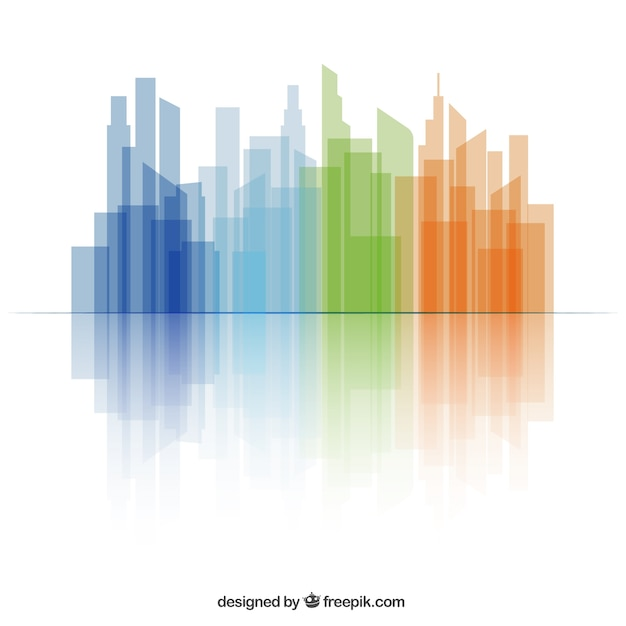 Colorful skyline Free Vector