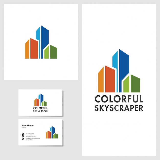 Colorful skyscraper logo design with business card mockup Premium Vector