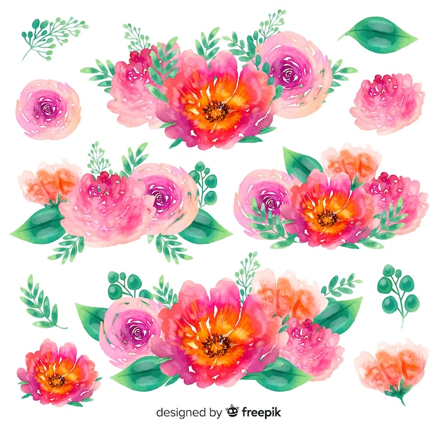 Colorful small flowers bouquets watercolor Free Vector