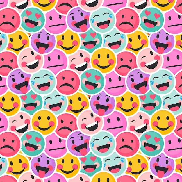 カラフルな笑顔と怒っている絵文字パターン 無料ベクター