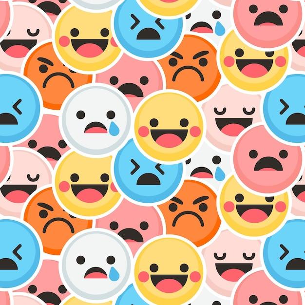 Colorato sorriso e grido emoticon pattern Vettore gratuito