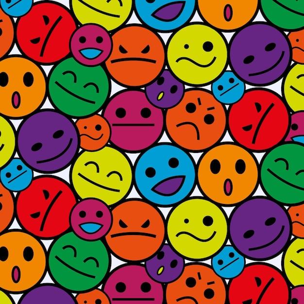 カラフルな笑顔の絵文字パターン 無料ベクター
