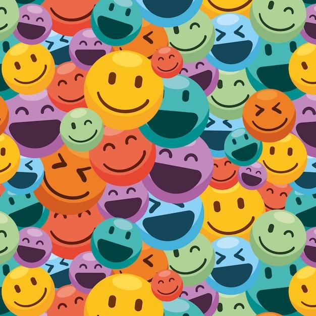 화려한 미소 이모티콘 패턴 프리미엄 벡터
