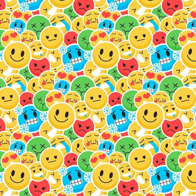 カラフルな笑顔の絵文字パターン Premiumベクター