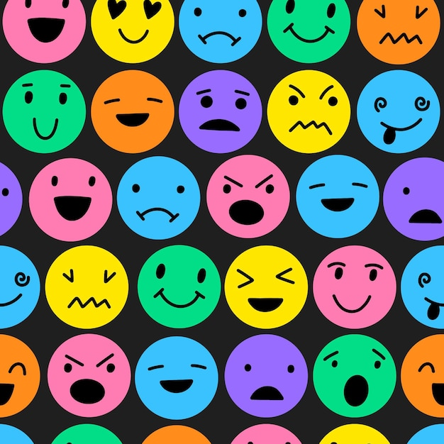 Colorful smile emoticons pattern Free Vector