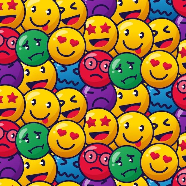 화려한 미소 이모티콘 패턴 무료 벡터