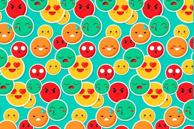 Colorato sorriso e bacio emoticon pattern Vettore gratuito