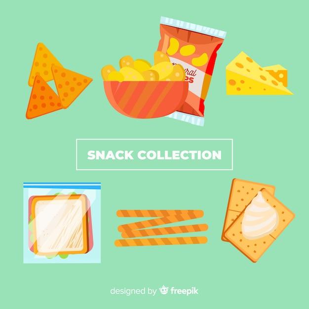 Красочная коллекция закусок с плоской конструкцией Бесплатные векторы
