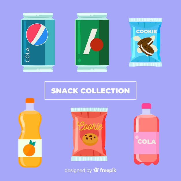Colorful snack collection with flat design Free Vector